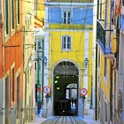 Colorful funicular Bica in Lisbon-1400
