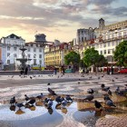 Panorama of Rossio Square in old downtown Lisbon, Portugal-1400