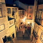 Typical urban scene in the narrow streets of Lisbon, Portugal, at night-1400