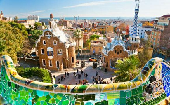 Park Guell in Barcelona, Spain.-600