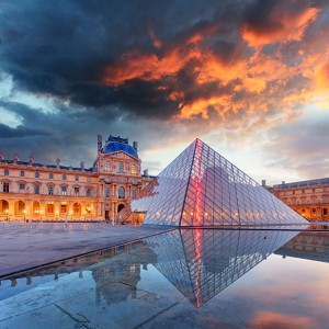Louvre museum at twilight in summer on February 9,2015. Louvre museum is one of the world's largest museums with more than 8 million visitors each year-1600