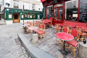 tables on Place Jean-Baptiste-Clement in Paris on March-1600