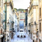 Lisbon downtown district Baixa – view from the exit of the metro station Baixa-1400