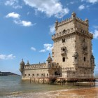 Torre de Belem (Belem Tower) on the Tagus River guarding the entrance to Lisbon in Portugal.-1400