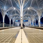 nterior of Oriente Station at night. This Station was designed by Santiago Calatrava for the Expo 98 world's fair-1400
