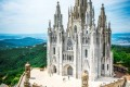 Tibidabo church on mountain in Barcelona with christ statue-600