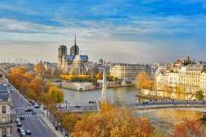 Scenic view of Notre-Dame de Paris with Saint-Louis and Cite islands on a bright fall day-1600
